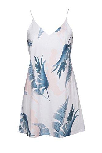 Moda Senza Maniche con spalline con scollo profondo Mini Shift Boxy dritto Sun Slip Dress Vestito Abito bianco Tropical Palm
