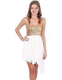 ASOS John Zack – Ärmelloses Kleid mit Paillettenbesatz und Chiffonrock Weiß / Gold
