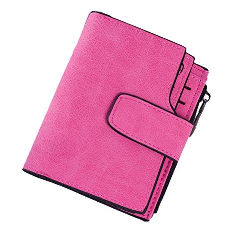 FENICAL Retro Schnalle Brieftasche PU-Leder Reißverschluss Geldbörse kurze Absatz Geldbörse (Rose Red)