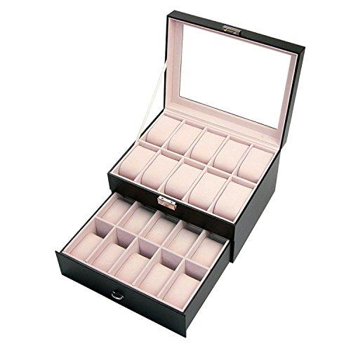 co-z-piel-reloj-pantalla-caja-joyero-con-cerradura-caja-de-almacenamiento-20-compartimentos-color-ne