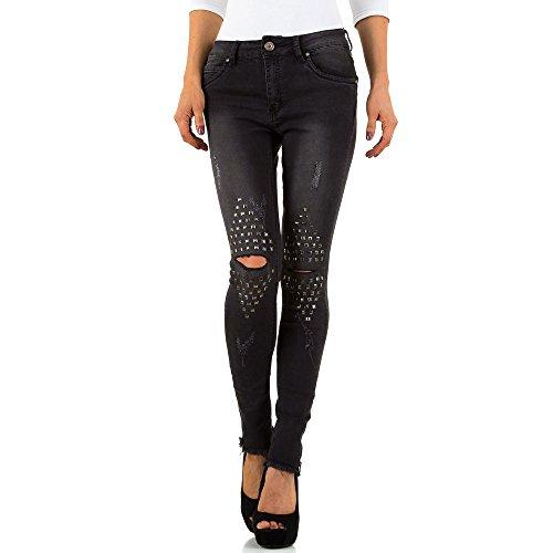 Destroyed Low Nieten Skinny Jeans Für Damen bei Ital-Design Schwarz