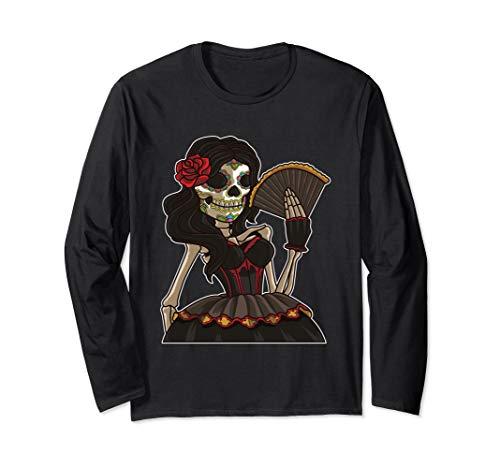 Kostüm Del Muerte Dia - Skelett Lady der Toten - La Calavera Catrina - Santa Muerte Langarmshirt