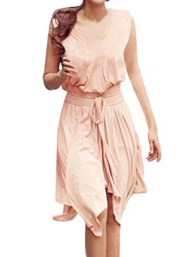 Allegra K Damen Tiefer V-ausschnitt Unregelmäßig Saum Weich Tank Kleid mit Bund und Seiten - Hellrosa, Damen, 36 (Allegra Sommer Kleider)