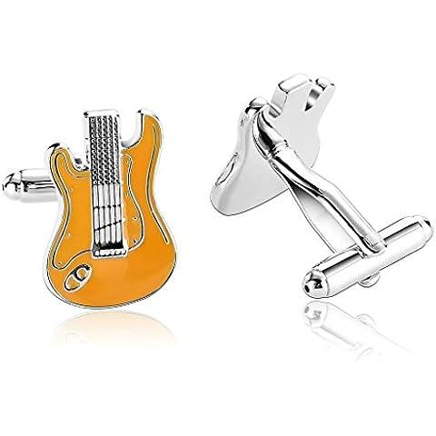 Alimab Joyería Gemelos Para Hombres Naranja Con Forma Guitarra Simple - Acero Inoxidable Hombre
