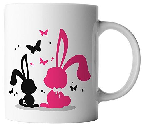 vanVerden Tasse Ostern Zwei Hasen und Schmetterlinge inkl. Geschenkkarte, Farbe:Weiß/Bunt