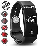 POLLIX - Fitness Activity Tracker - Fitness Armband u Pulsuhr mit Herzfrequez – IPX7 Wasserdicht Bluetooth Sport Uhr mit Schrittzähler u Schlaftracker für iPhone Android