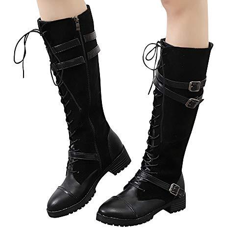 MYMYG Vintage Stiefel Frauen Damen Schuhe Flock Roman Reiten Kniehohe Cowboy Stiefel Lange Stiefel...