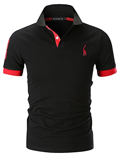 YCUEUST Hommes Cotton 3 Impression Manche Mode Polo...
