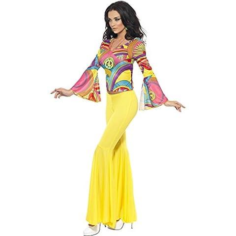 70er Jahre Outfit Flower Power Damenkostüm M 40/42 60er Jahre Vintage Hippiekostüm Damen Hippie Kostüm Karneval Kostüme Damen Sexy Retro Party Faschingskostüm Blumenkind Mottoparty Verkleidung