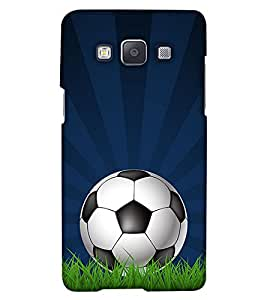 PrintHaat Designer Back Case Cover for Samsung Galaxy A5 (2015) :: Samsung Galaxy A5 Duos (2015) :: Samsung Galaxy A5 A500F A500Fu A500M A500Y A500Yz A500F1/A500K/A500S A500Fq A500F/Ds A500G/Ds A500H/Ds A500M/Ds A5000 (football lover :: soccer player :: football in the ground :: football in the net :: football illusion :: in blue, black, green, white and brown)