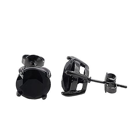 CheersLife 12mm Round Black Onyx Cubic Zirconia Stud Earrings for Women /Men
