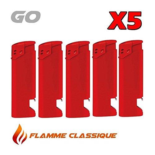 (Elektronische Feuerzeuge mit Flaschenöffner, Rot, 5 Stück)