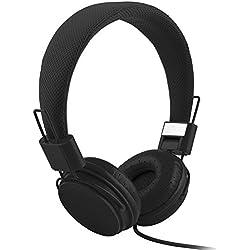 Vimoli BY-JI70 La Mode Casque D'écouteur Bandeau avec Câble Pliable et Réglable Stéréo Haute Définition Amélioré Sport Musique Filaire Écouteurs 3,5MM Compatibles Tablet PC Téléphone (Noir)