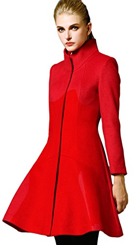 La vogue Damen Lange Mantel Trenchcoat Faux Wollmantel Langarm Outwear Rot Größe 2XL