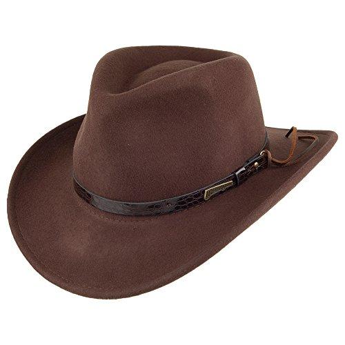 Village Hats Chapeau Australien en Laine Marron Indiana Jones