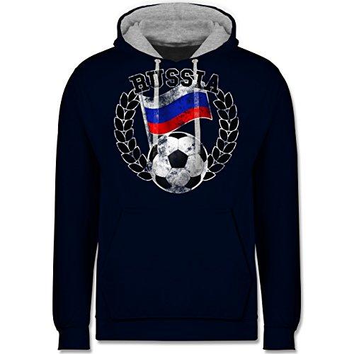 Fußball-WM 2018 - Russland - Russia Flagge & Fußball Vintage - Kontrast Hoodie Dunkelblau/Grau meliert