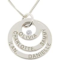 Solid 9ct White Gold Personalised Three Ring Pendant Necklace With Diamond and Optional Chain + Gift Box