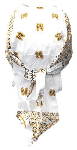 Alex Flittner Designs Bandana Cap mit Paisley Muster weiß/hellbraun