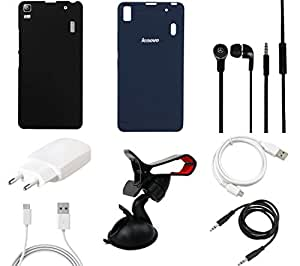 NIROSHA Cover Case Charger Headphone USB Cable Mobile Holder for Lenovo K3 Note - Combo