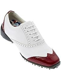 FootJoy - Zapatos de golf para mujeres LoPro (97013) - Blanco / Rojo, Mezcla, 39 (Ancho medio)