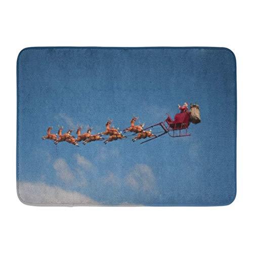 Badematte Red Rentier Blue Santa Santa Schlitten fliegen über die Stadt während Weihnachten weiße Claus Deer Badezimmer Dekor Wolldecke (Deer Wolldecke)