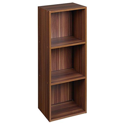 URBN LIVING ® 1, 2, 3, 4Etagen Holzregal Bücherregal Aufbewahrung Holz Regal, Braun (Teak), 3 Ablagefächer