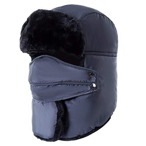PAMRAY Winter Hut Warm Vlies mit Gesichtsmaske Ohrenklappen Unisex Schnee Ski Hat Outdoor Sport Trapper Mütze Wasserdicht Winddicht Grau (Schnee-hut Gesichtsmaske Männer)