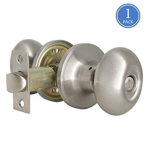 knobonly Oval Ei Stil Türknauf Türknauf gebürstet Nickel Hälfte Schnuller Tür Handleset, Türknauf Set Privacy-Keyless 1 Stück -