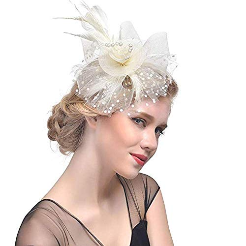 Kostüm Machen Senf - Shuxinmd Haarschmuck mit Schleier, Damen Haarreifen Fascinator Hut Netzschleier für Hochzeit Karneval Kostüm Beige