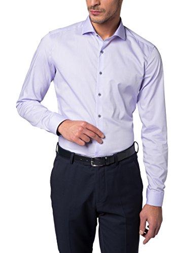ETERNA long sleeve Shirt SUPER-SLIM Stretch uni lillà