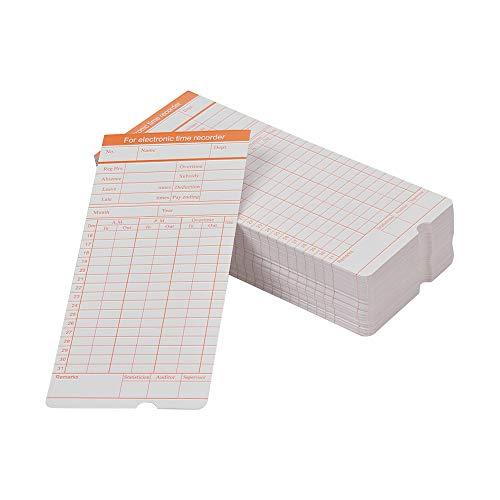 Aibecy DOYO Time Card formato mensile fronte/retro formato 7.4 * 3.3 pollici per la macchina del registratore dell'orologio di tempo dei dipendenti di presenza vari, 100pcs / pack