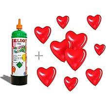 Bombona de gas helio + 10 globos con forma de corazón rojos. No recargable, de usar y tirar. De 1 litro. Con adaptador incluido. Botella para hinchar globos en fiestas