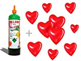 Bombona de gas helio + 10 globos con forma de corazón rojos. No recargable, de usar y tirar. De 1...