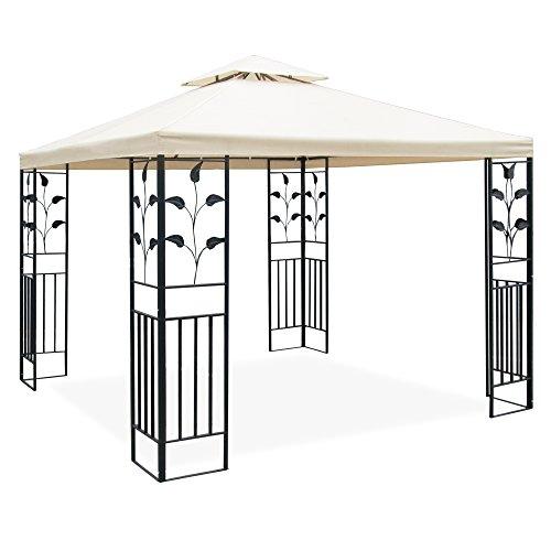 Metall Pavillon 3 x 3 m mit Schmiedeeisen-Ornamenten, anthrazit-grau pulverbeschichtet, Dach in Cremeton, Polyester 180 GR, mit Lüftungsdach