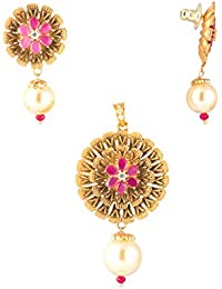 Designs N Dazzles - Pendant Set In Flower Design, Studded With Red Ruby Stones And With Hanging Pearl