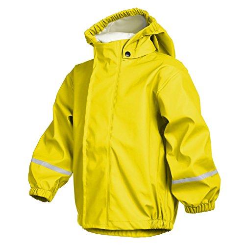 smileBaby Wasserdichte Kinder Regenjacke Regenmantel mit Abnehmbarer Kapuze Unisex in Gelb 104