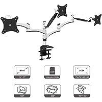 """HFTEK DS137D 3 Fach Monitor Standfuß Halterung Halter Tischhalterung Stand für Monitor 15"""" bis 27"""" Zoll mit VESA 75/100 (DS137D Weiss)"""