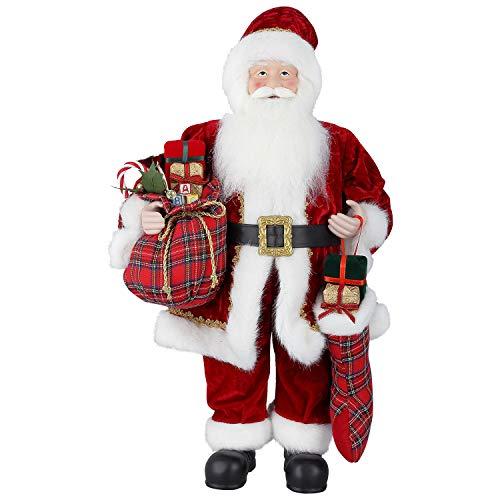 Himaly figura di babbo natale statuetta jim shore babbo natale grande figura natalizia in piedi padre tradizionale deluxe con sacco regalo decorazione per feste/casa (l)