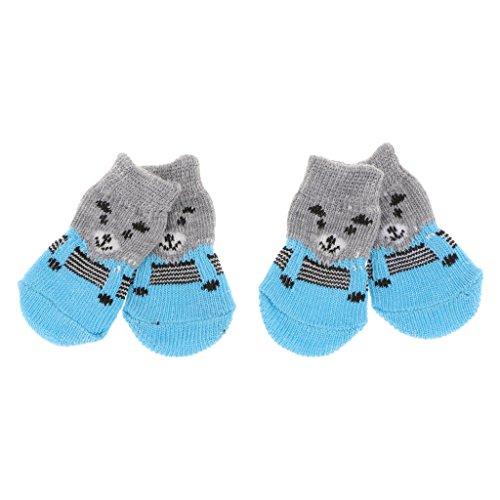 Baoblaze 4X Calcetines de Perro Gato Impresión Mascotas Antideslizante Zócalo Calcetines de Interior Cómodo - Gris, S