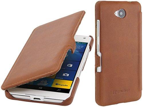 StilGut Book Type Case mit Clip, Hülle aus Leder kompatibel mit Microsoft Lumia 650/650 Dual SIM, Cognac