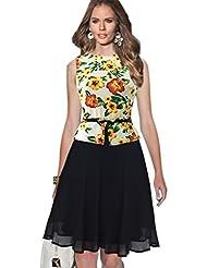 Good dress El jardín de flores de color amarillo a palabra falda de talle alto el péndulo,Amarillo,M