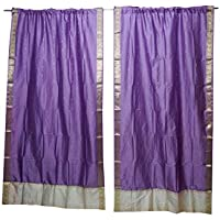 Mogul Interior 2 Indian Sari Curtain Drape Violet Window Treatment Wedding Decor 84x44