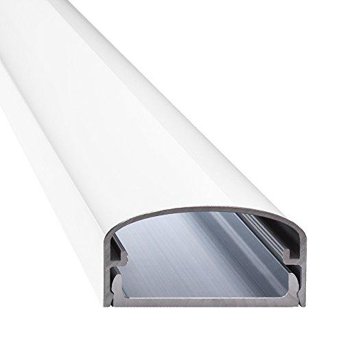 """Design Alu Kabelkanal \""""BIG MOUTH\"""" für TV , Beamer etc. - weiß glänzend (Klavierlackoptik) - Länge 75cm - Platz für viele Kabel - 75 x 5 x 2,6 cm - komplett aus Aluminium"""