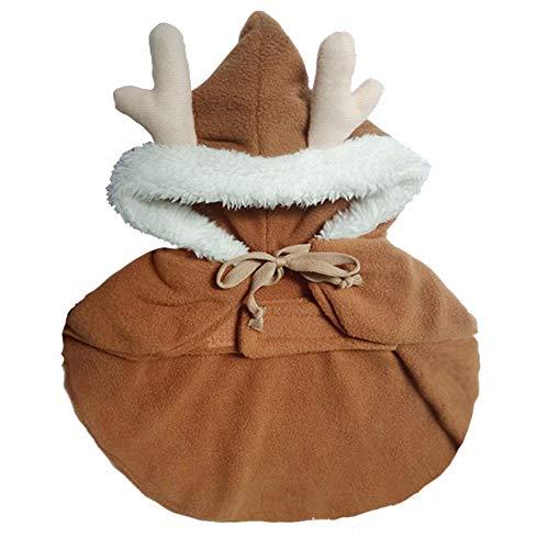 starter Haustier-Kleidung - Weihnachtskleidung Netter Elch-Mantel-Kostüm Teddy Gepolsterter Mantel Nette warme windundurchlässige Kleidung für Kleinen Hund