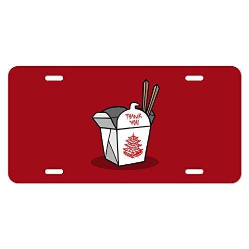 nschild Halter Chinesische Takeout Box mit Essstäbchen KFZ Tags Teller Rahmen Metall Schild ()