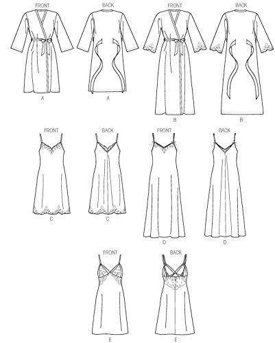 uk availability 4f595 d32f4 Vogue Patterns V9015 - Cartamodello per déshabillé e camicia da notte da  donna, taglie 36-44