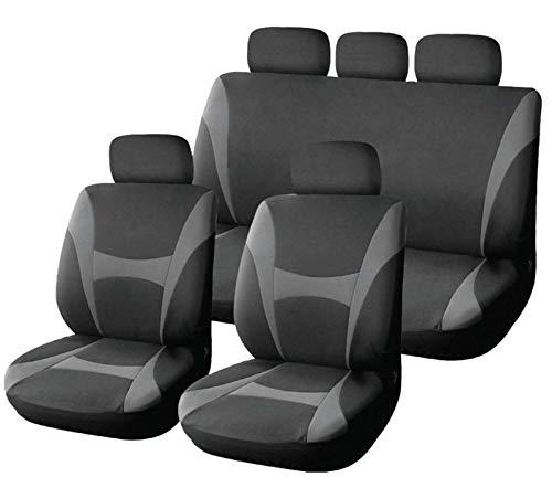 XtremeAuto® - Coprisedili classici Supreme, in morbido tessuto - 9pezzi, grigio e nero-incluso adesivo XtremeAuto