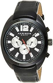 Akribos XXIV Men's Analogue Display Swiss Quartz Watch with Leather S
