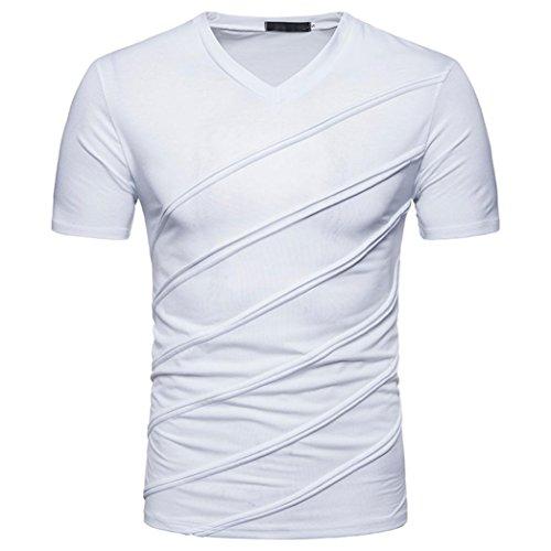 Tops Herren, FEITONG Herren Slim Fit Shirt Männer Einfarbig Kurzarm Casual Shirt Rundhals Tops Sommer Basic Shirts (L, Weiß)