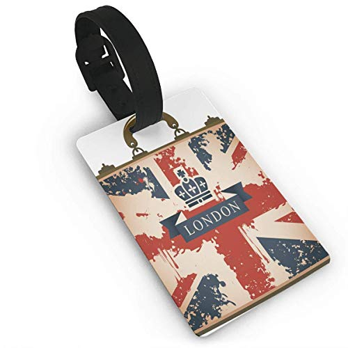 Vintage Travel Suitcase with British Flag London Ribbon and Crown Image Luggage Tags - Flag Crown